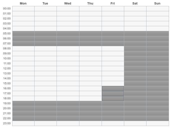 Stundenplan um die Trainingsverfügbarkeit setzen zu können